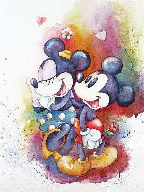 5D Diamond Painting Mickey and Minnie Mouse Water Colors Kit