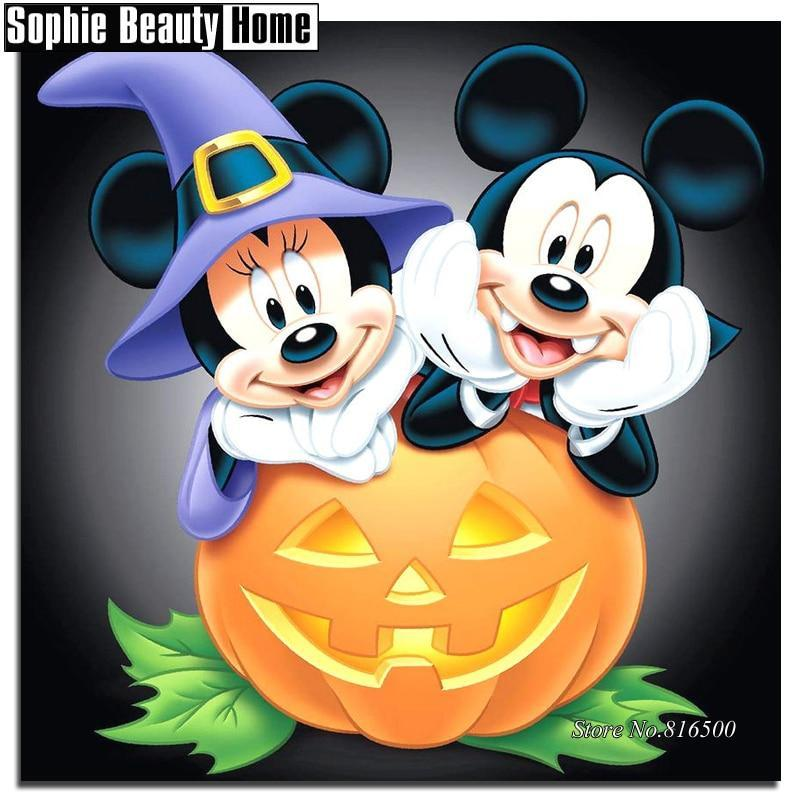 5D Diamond Painting Mickey and Minnie Pumpkin Fun Kit