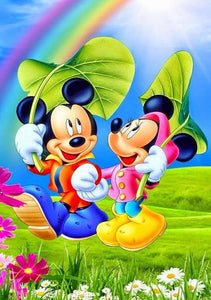 5D Diamond Painting Mickey and Minnie Sun Shade Kit