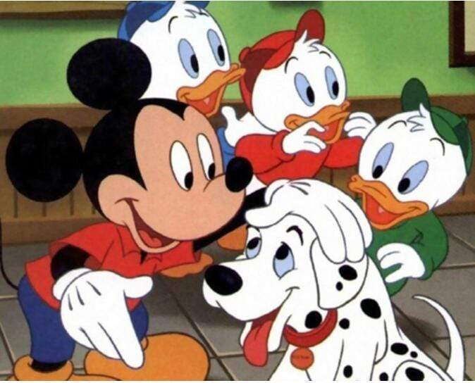 5D Diamond Painting Mickey, Dalmation & the Duck Nephews Kit