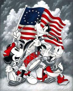 5D Diamond Painting Mickey Mouse and Friends Red, White and Blue Kit
