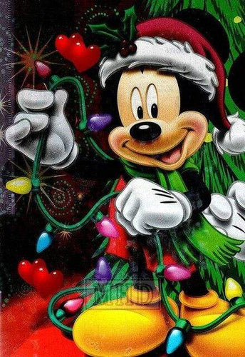 5D Diamond Painting Mickey Mouse Christmas Lights Kit