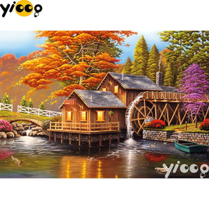 5D Diamond Painting Mill House in Fall Kit