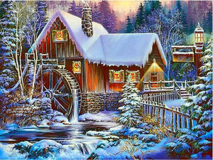 5D Diamond Painting Mill House in Winter Kit