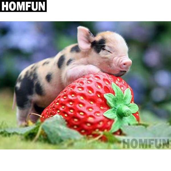 5D Diamond Painting Mini Pig and a Strawberry Kit