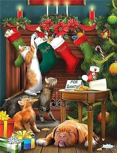 5D Diamond Painting Mischievous Christmas Cats Kit