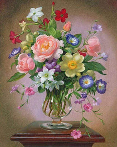 5D Diamond Painting Mixed Flower Bouquet in a Vase Kit