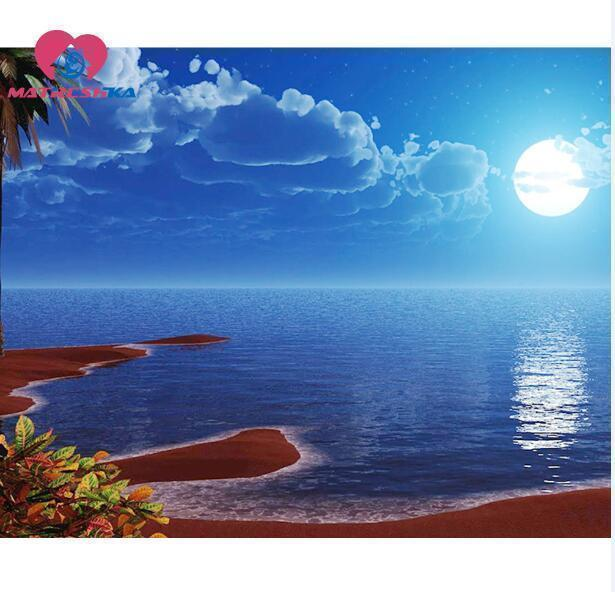 5D Diamond Painting Moon Over the Beach Kit