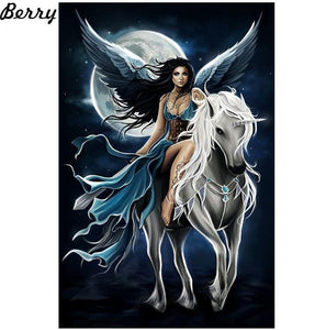 5D Diamond Painting Moonlight Angel and Unicorn Kit