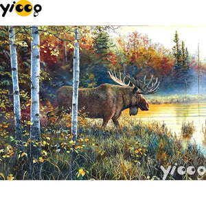 5D Diamond Painting Moose Behind the Trees Kit