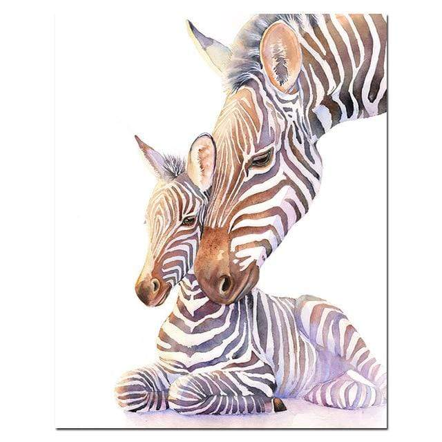 5D Diamond Painting Mother & Baby Zebra Kit