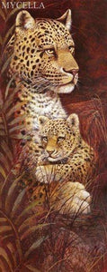 5D Diamond Painting Mother Leopard and Her Cub