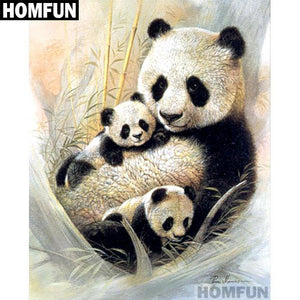 5D Diamond Painting Mother Panda and her Cubs Kit