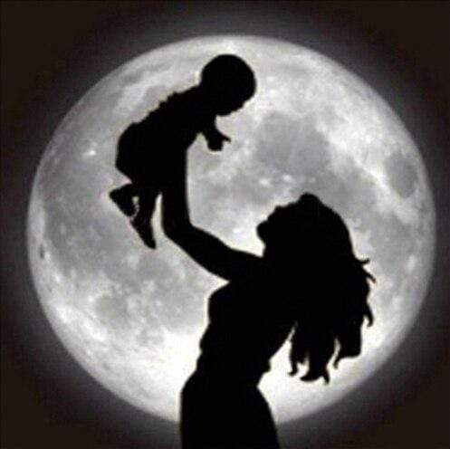 5D Diamond Painting Mother with Child Silhouette Kit