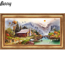 5D Diamond Painting Mountain Cabin by the Lake Kit