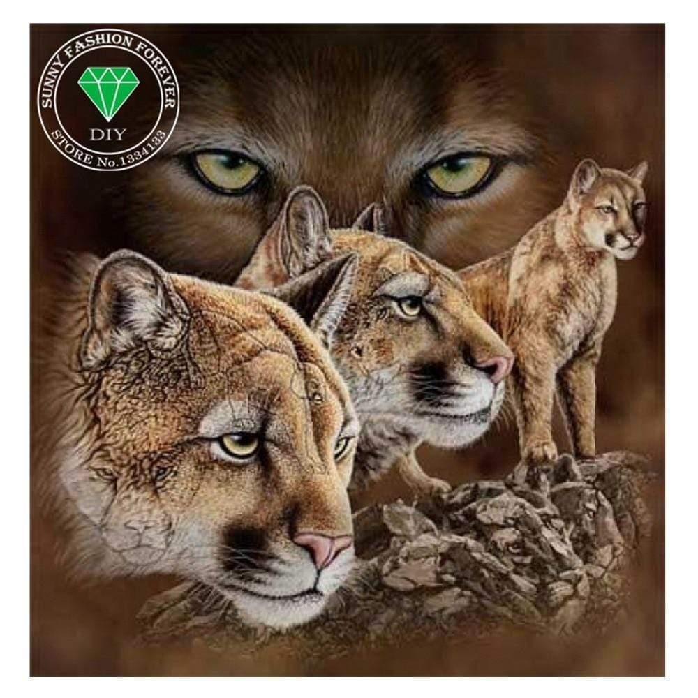 5D Diamond Painting Mountain Lion Collage Kit
