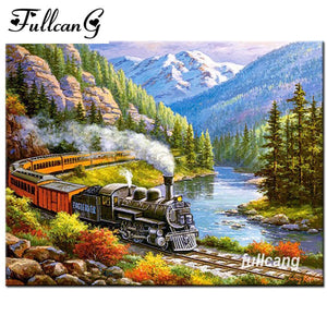 5D Diamond Painting Mountain Train Kit