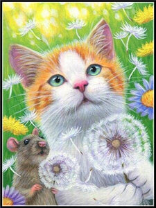 5D Diamond Painting Mouse and Cat with Dandelions Kit