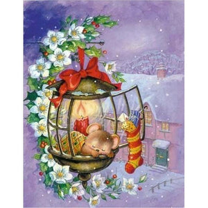 5D Diamond Painting Mouse in a Christmas Lantern Kit