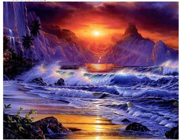 5D Diamond Painting Night Sea Kit