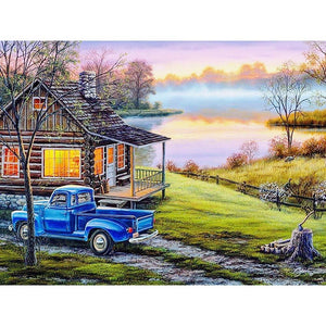 5D Diamond Painting Old Blue Truck by the Cabin Kit