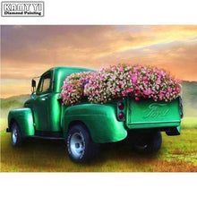 5D Diamond Painting Old Green Truck Flowers Kit