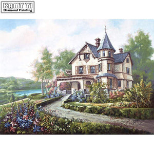 5D Diamond Painting Old Mansion on the Hill Kit