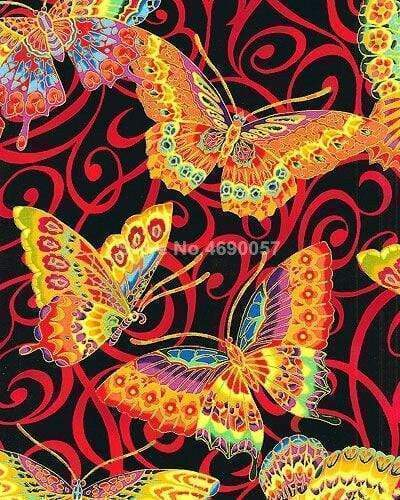 5D Diamond Painting Orange and Yellow Butterfly Pattern Kit
