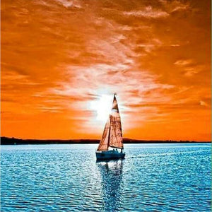 5D Diamond Painting Orange Sunset Sailing Kit