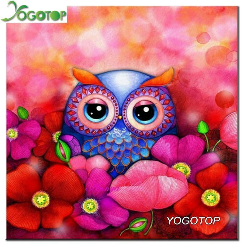 5D Diamond Painting Owl in the Flowers Kit