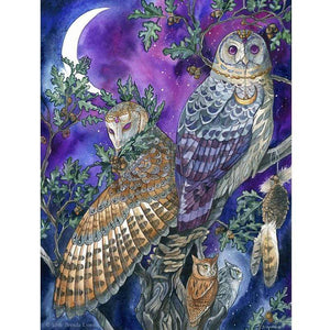 5D Diamond Painting Owls Under a Purple Night Sky Kit