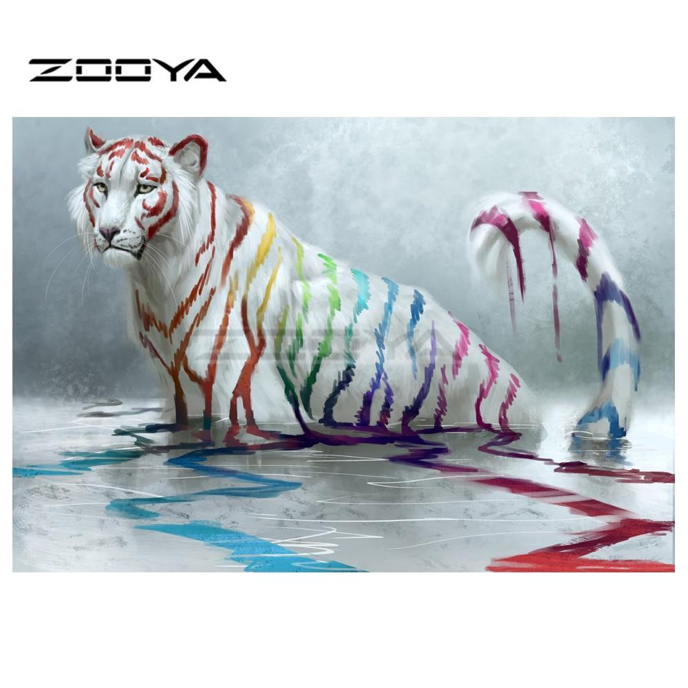 5D Diamond Painting Painted White Tiger Kit