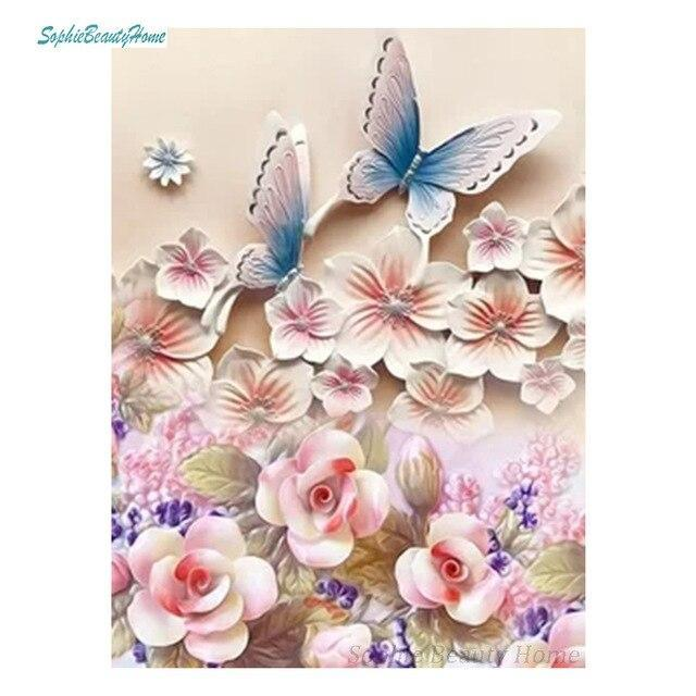 5D Diamond Painting Pale Pink & Peach Flowers and Butterflies Kit