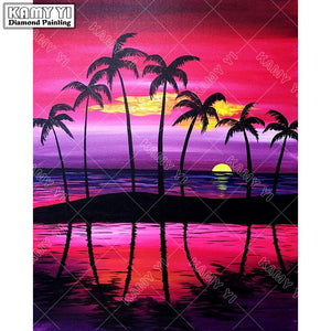 5D Diamond Painting Palm Tree Sunset Kit