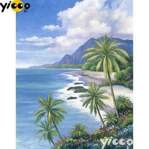 5D Diamond Painting Palms Over the Ocean Kit