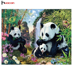 5D Diamond Painting Panda Family Kit