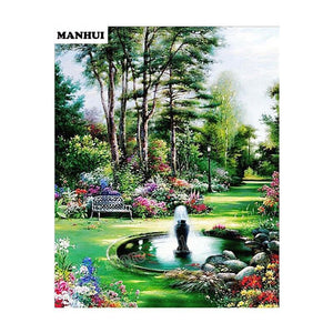 5D Diamond Painting Park Fountain Kit