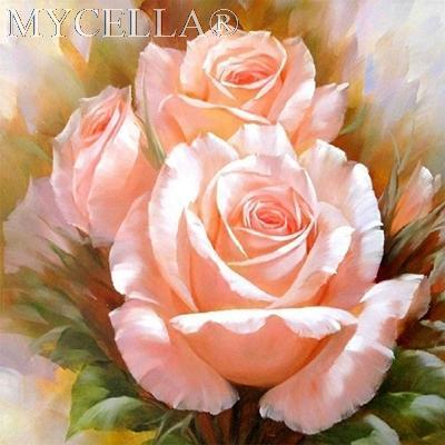 5D Diamond Painting Peach Rose Kit