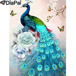 5D Diamond Painting Peacock and Roses Kit