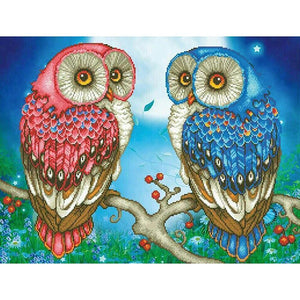 5D Diamond Painting Pink and Blue Owls on a Branch Kit