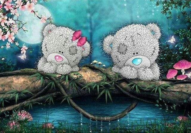 5D Diamond Painting Pink and Blue Teddy Bears Kit