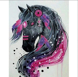 5D Diamond Painting Pink and Purple Feather Horse Kit
