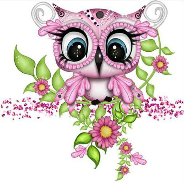 5D Diamond Painting Pink Baby Owl Kit