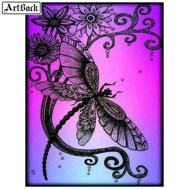 5D Diamond Painting Pink Background Dragonfly Kit