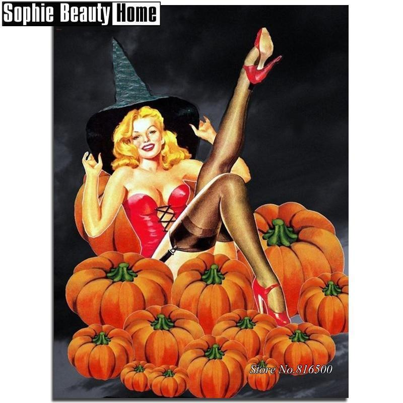 5D Diamond Painting Pink Corset Witch in the Pumpkins Kit