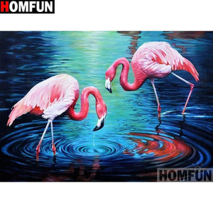 5D Diamond Painting Pink Flamingos in the Water Kit
