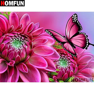 5D Diamond Painting Pink Flowers and Butterfly Kit