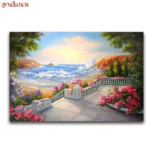 5D Diamond Painting Pink Flowers by the Sea Kit