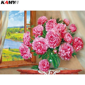 5D Diamond Painting Pink Flowers in the Window Kit