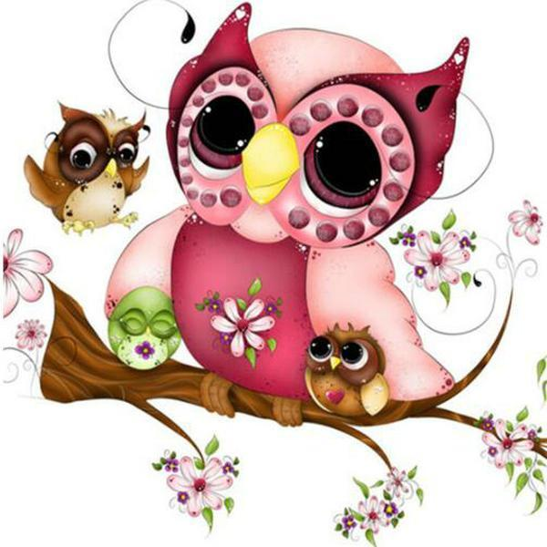 5D Diamond Painting Pink & Mauve Baby Owl Kit